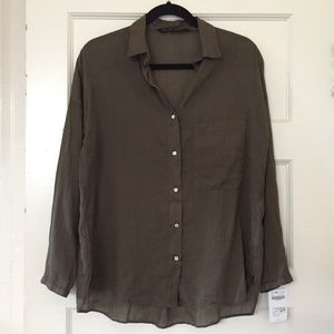 Zara Sheer Button Down New with Tag Sz M NWT